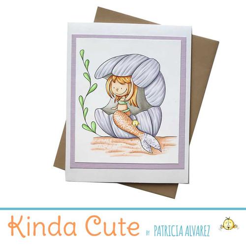 Handmade card with a mermaid. One of a kind.