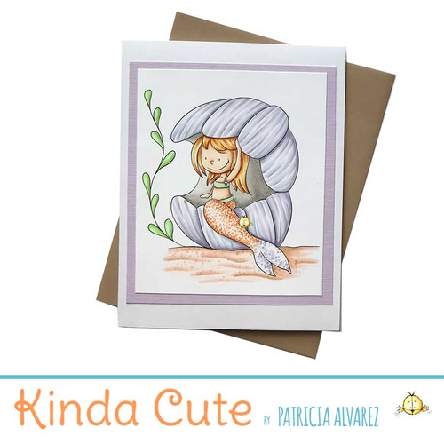 Handmade card with a mermaid. One of a kind.