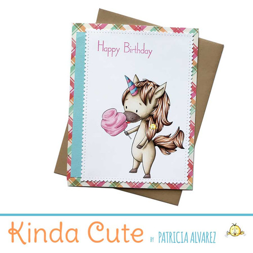 Happy birthday handmade unicorn card.