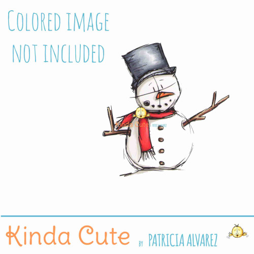 Snowman digital stamp. Colored image only for reference.