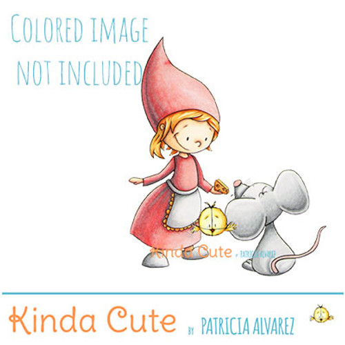 Gnome and mouse digital stamp. Black and White only. Colored only for reference.