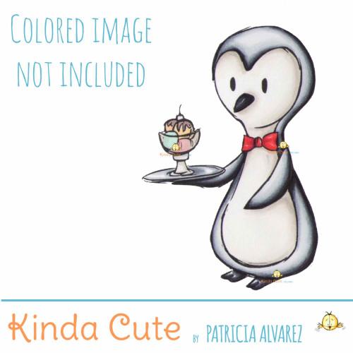 Waiter Penguin Digital Stamp. Black and white only