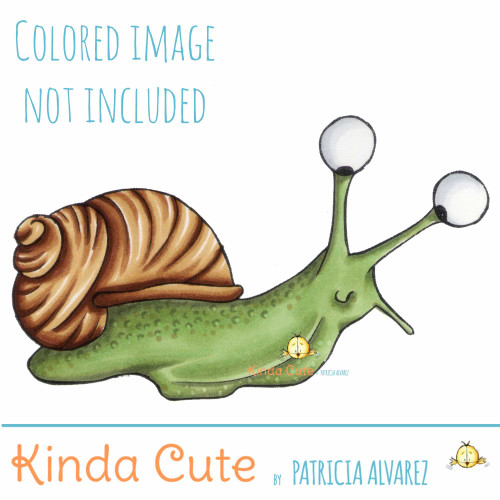 Snail digital stamp. Black and white only.