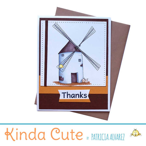 Thank you card in brown colors with a windmill image.