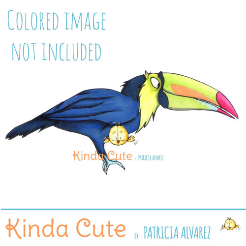 Toucan digital stamp for coloring.