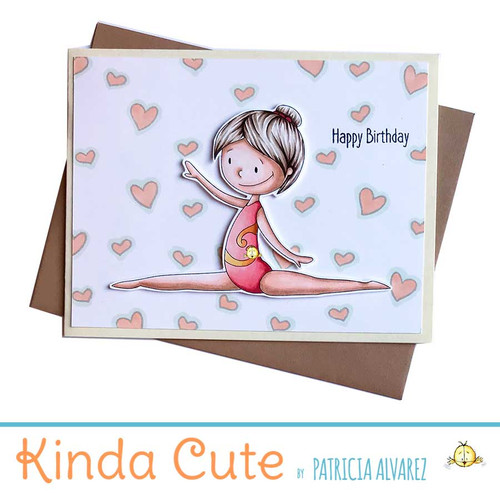Cute birthday card with a rhythmic gymnast doing a split.