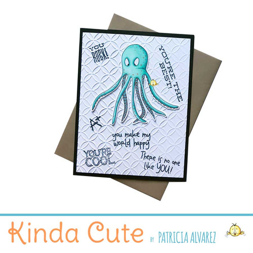 Cute embossed card with an octopus colored in green colors.