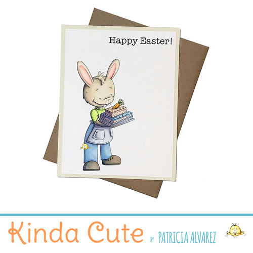 One of a kind easter card with an illustration of a rabbit carrying a carrot cake, colored by hand. The sentiment reads Happy Easter!