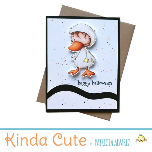 Halloween card with a boy in a duck costume. h332