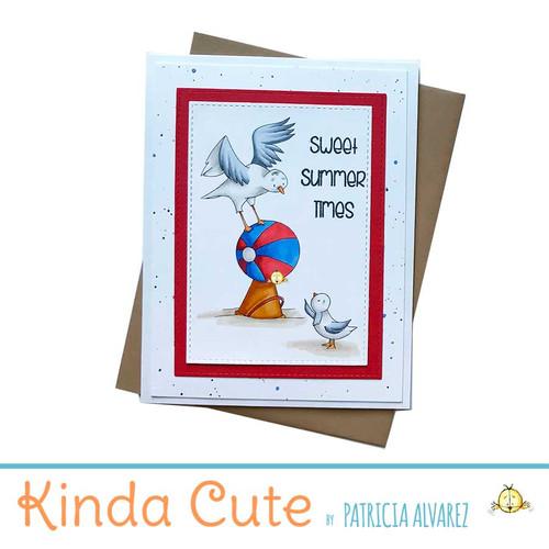 Summer time seagulls handmade card. h336