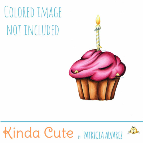 Cupcake Digital Stamp. Black and white only