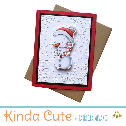 Cute Christmas card with an illustration of a snowman holding candy cane.