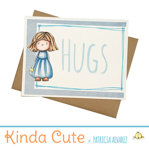 Letterpressed Hugs card with a girl. h349