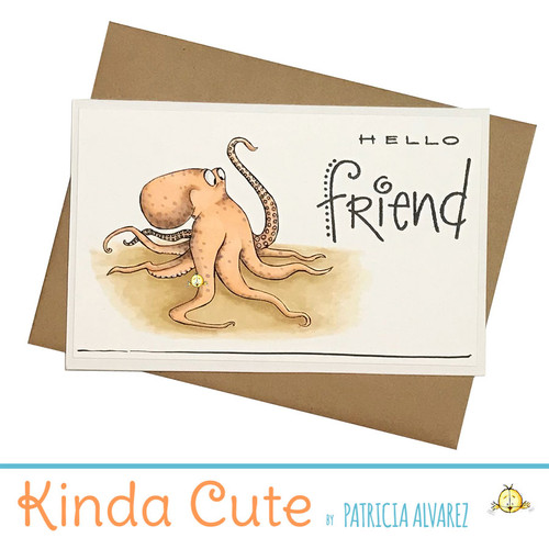 Friendship card with a funny octopus. h352