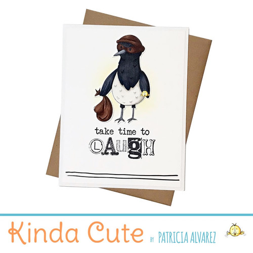 Time for a laugh magpie handmade card. h353