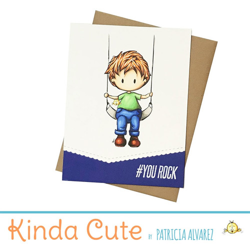 Encouragement boy on swing card. h357
