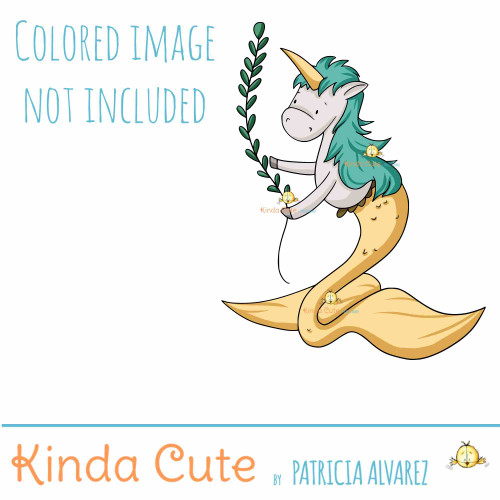 Mer-unicorn and Mer-horse digital stamp set