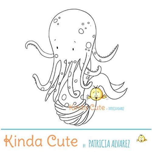 Mer-octopus digital stamp