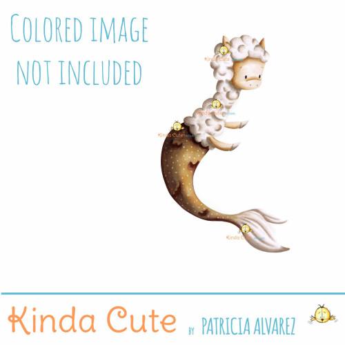 Llama mermaid digital stamp