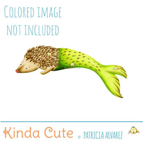 Mer hedgehog digital stamp