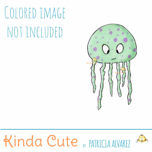 Jellyfish Digital Stamp. Black and white only