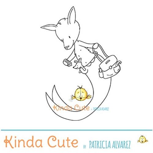 Mer-kangaroo and baby digital stamp