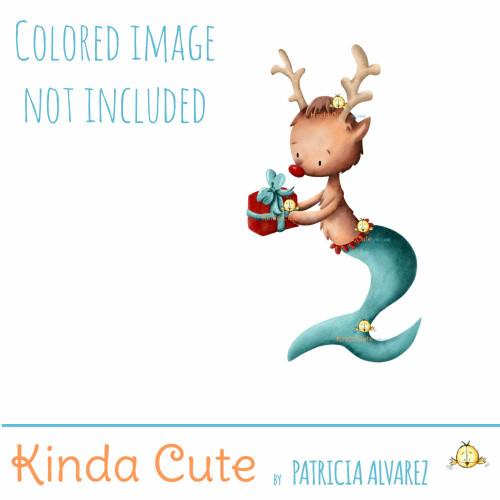 Mer Reindeer digital stamp