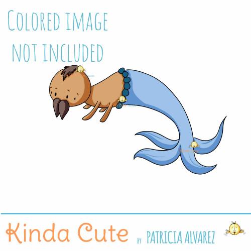 Spider with Mermaid Tail Digital stamp
