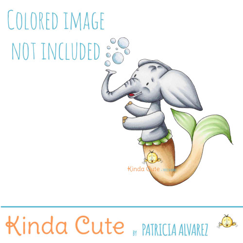 Elephant mermaid digital stamp. Colored version not included.