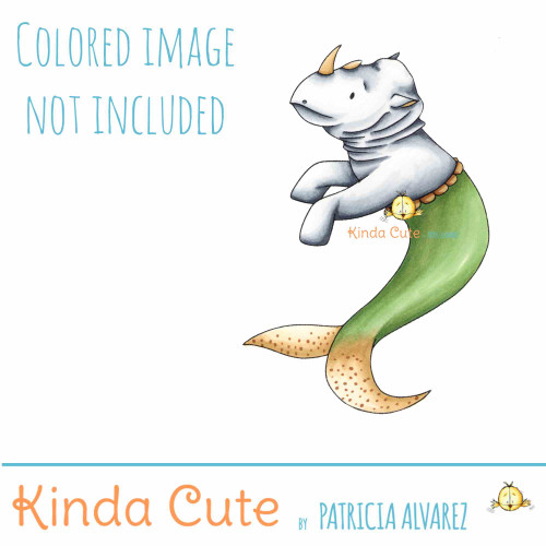 Rhinoceros mermaid digital stamp.