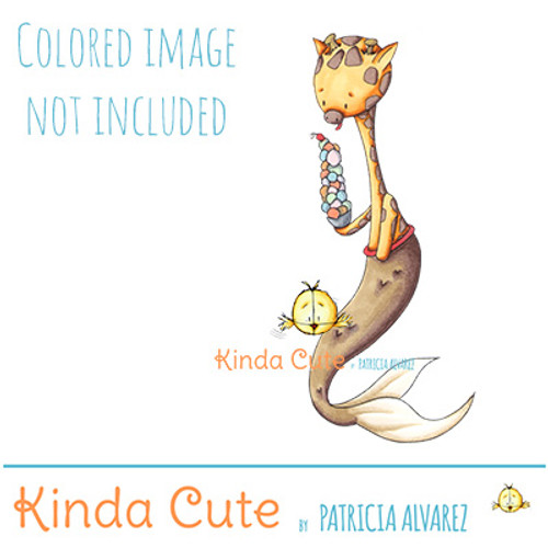 Mer-giraffe digital stamp colored for reference only.