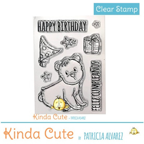 Bilingual birthday clear stamp set with bear