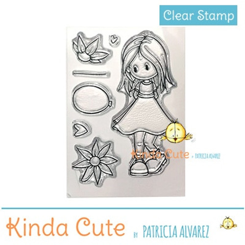 Girl with balloon clear stamp set