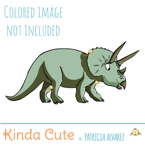 Triceratops Digital Stamp