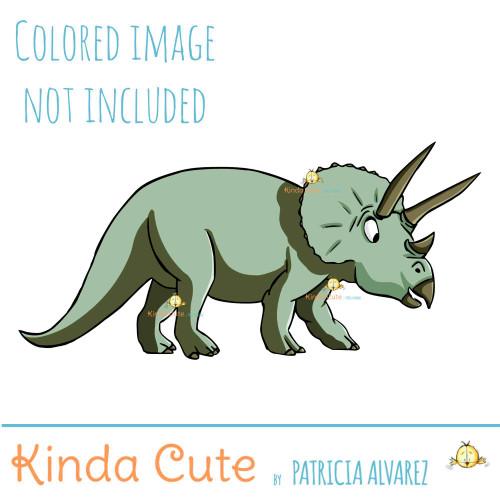 Triceratops Digital Stamp