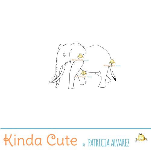 Adult Elephant Digital Stamp