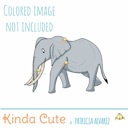 Adult Elephant Digital Stamp