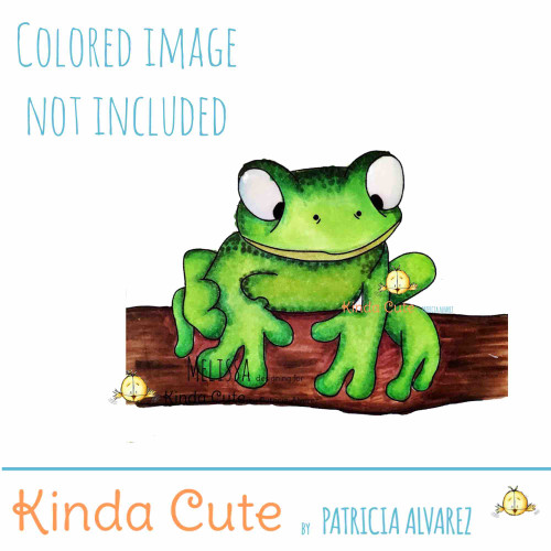 Frog digital stamp by Kinda Cute by Patricia Alvarez. Black and white only. Colored only for reference.