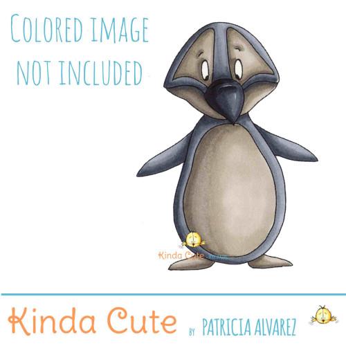 Penguin digital stamp.