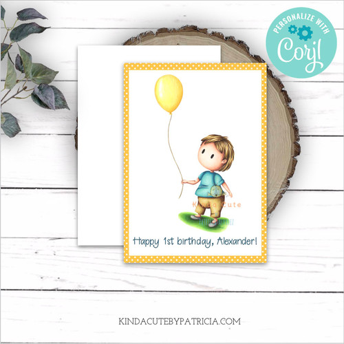 Personalized editable first birthday greeting card with a boy and a balloon. Printable file.