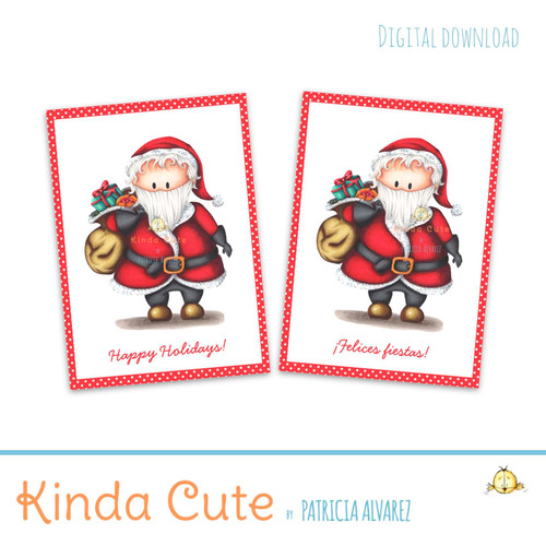 Printable christmas cards in English and Spanish.