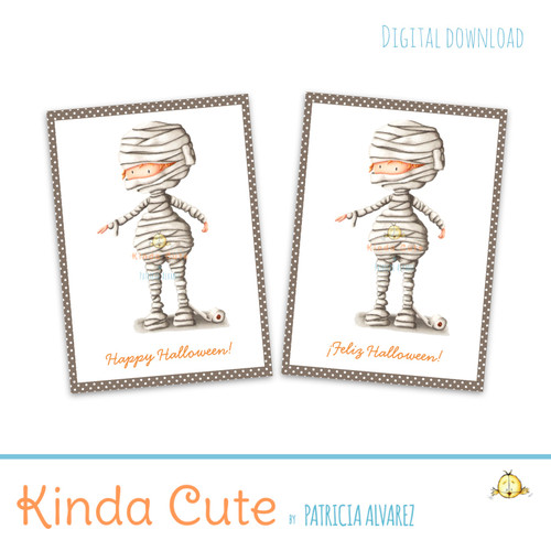 photo regarding Mummy Printable called Mummy with rest room paper Halloween printable card. English and Spanish.