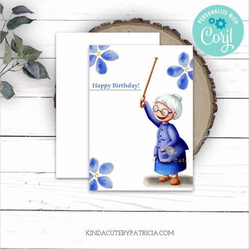 Birthday card for grandma. Printable file.