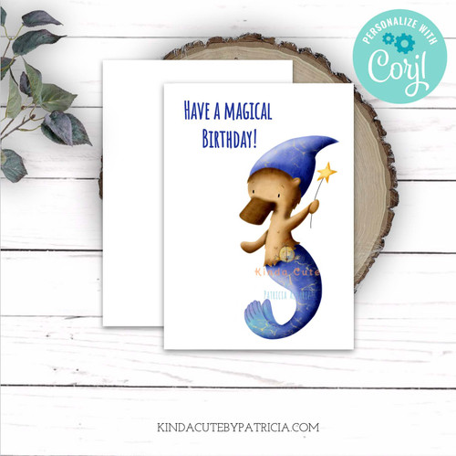 Have a magical day. Printable card with a platypus mermaid