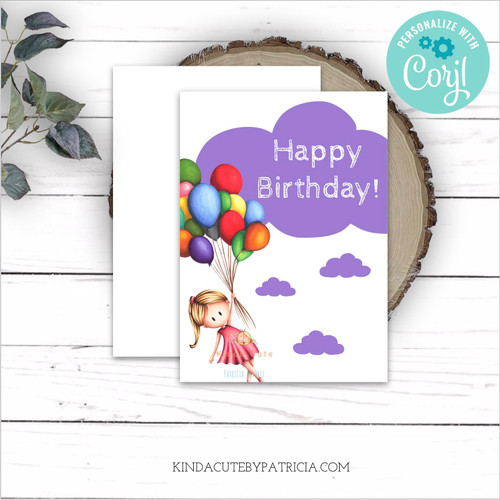 Purple birthday card with a girl and balloons. Editable birthday card.