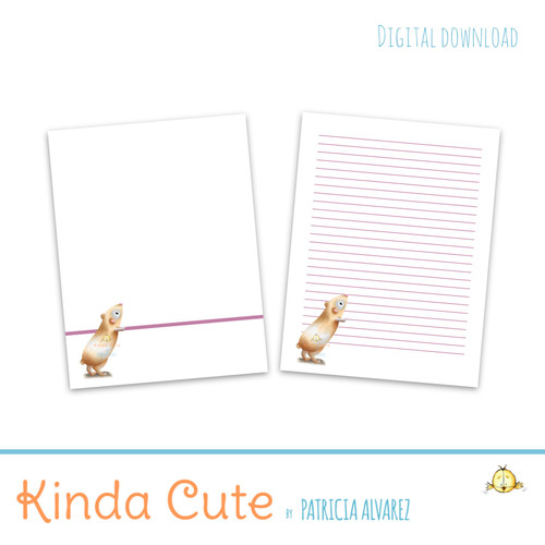 Guinea pig printable stationery.