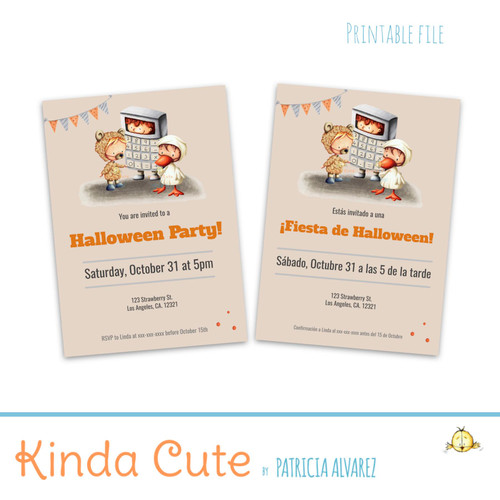 Cute Costume Halloween Party Invitation. Printable. English or Spanish
