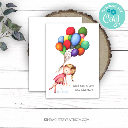 Good luck in your new adventure editable farewell card