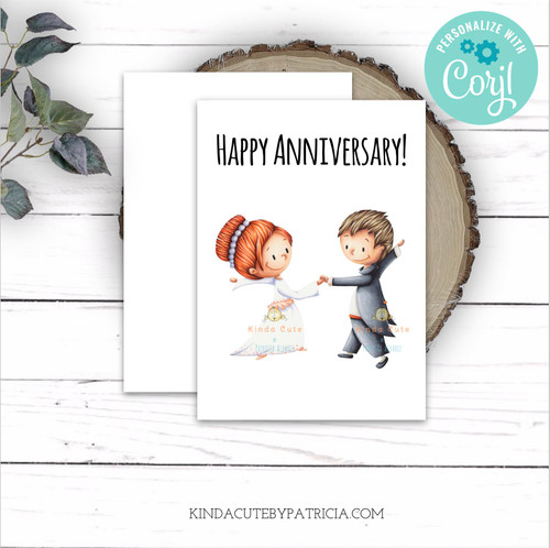 Happy Anniversary printable card. Editable card with a bride and a groom dancing.