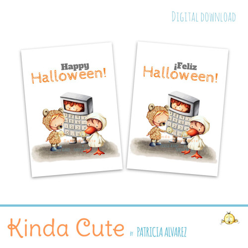 Bilingual Halloween card with kids in costumes. English and Spanish.